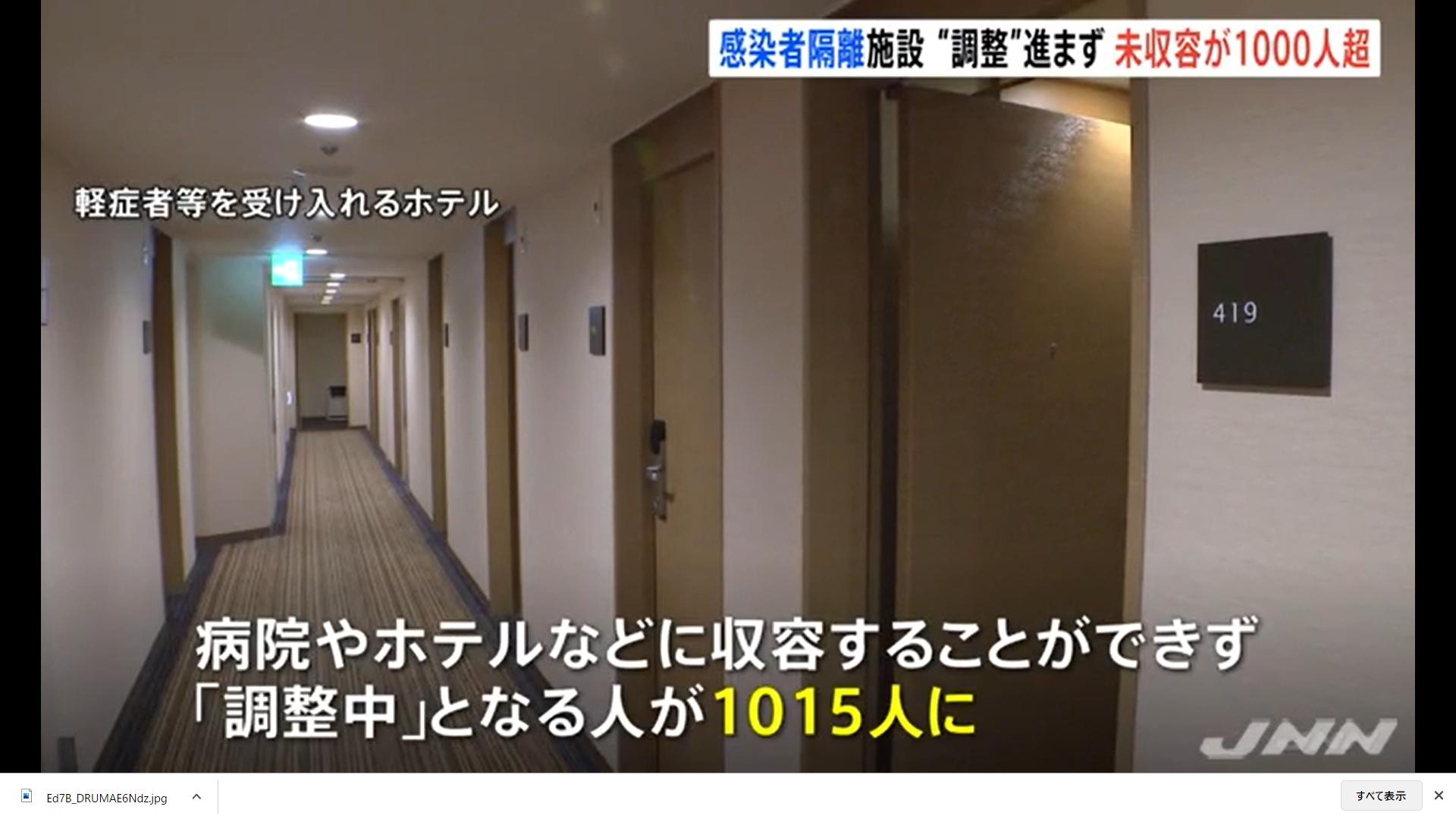 死亡者少ないから大丈夫はウソ!東京はコロナ1000人以上隔離なし